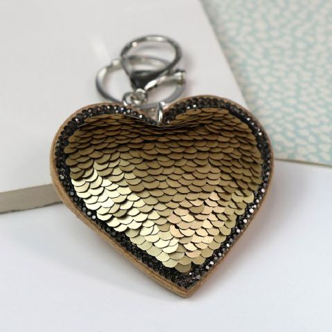 SEQUIN HEART KEYRING GOLD